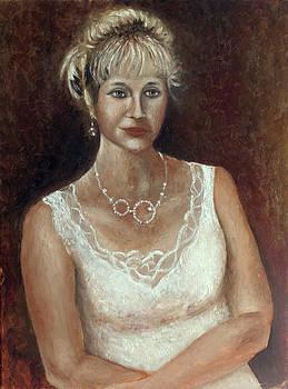 Woman in white by Vladimir Kezerashvili