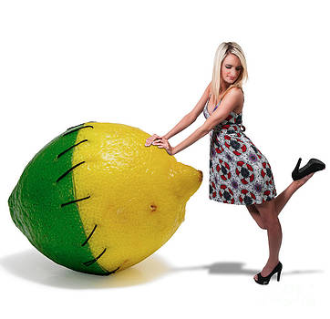 Woman Leaning on a lemon lime  by Rob Byron