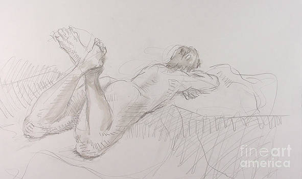 Woman reclining with crossed feet by Andy Gordon