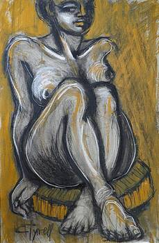 Woman Sitting On Round Chair 2- Female Nude  by Carmen Tyrrell