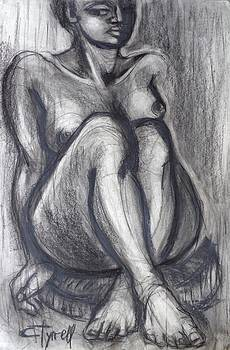 Woman Sitting On Round Chair - Female Nude by Carmen Tyrrell