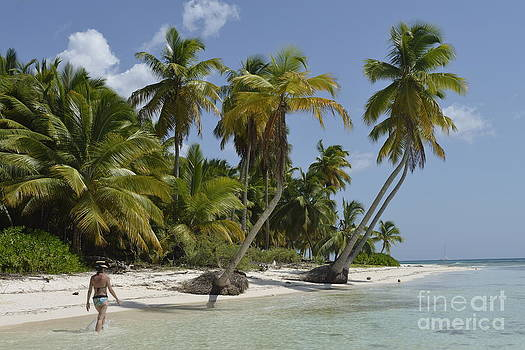 Woman walking by coconuts trees on a pristine beach by Sami Sarkis