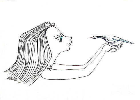 Woman with bird by Donovan OMalley
