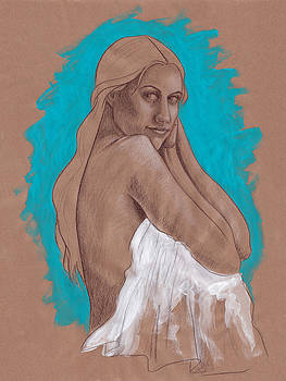 Woman with Long Hair Figurative Art by SL Scheibe