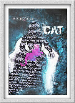 Woman with Magenta Cat by Eve Riser Roberts