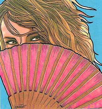 Woman with Pink Fan by Mario Labonte