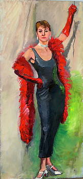 Woman With Red Boa by Joyce Colburn