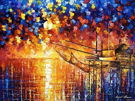 Wooden Dock - PALETTE KNIFE Oil Painting On Canvas By Leonid Afremov by Leonid Afremov