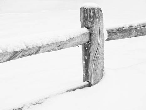 Wooden Fence in the Snow by Nancy De Flon