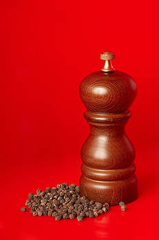 Wooden pepper mill on red background by Konstantin Gushcha