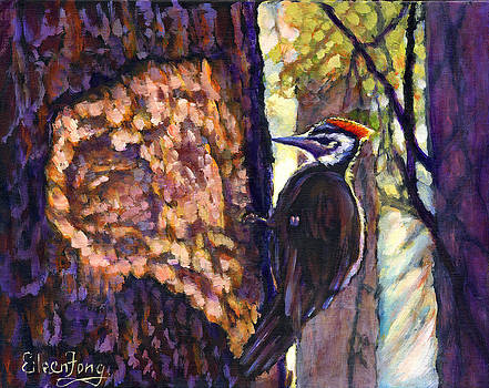 Woodpecker at Work by Eileen  Fong