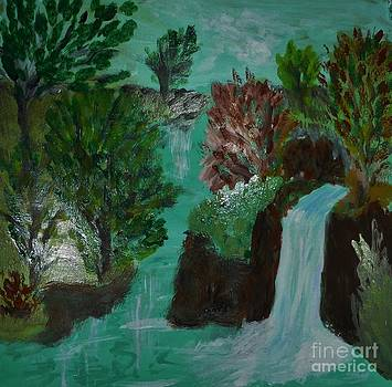 Woods Water and Waterfall by Marie Bulger