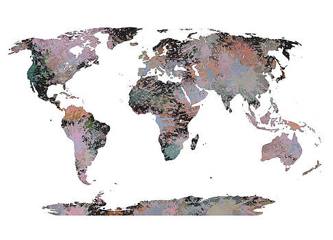 World Map 2 digital watercolor artwork by Costinel Floricel