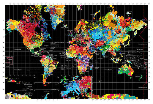 Abstract World Map Black by Gary Grayson