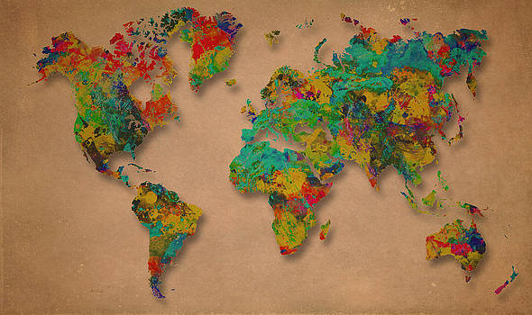 World Map Digital Watercolor Painting  by Costinel Floricel