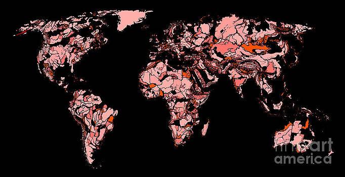 World map in red-black by Adendorff Design