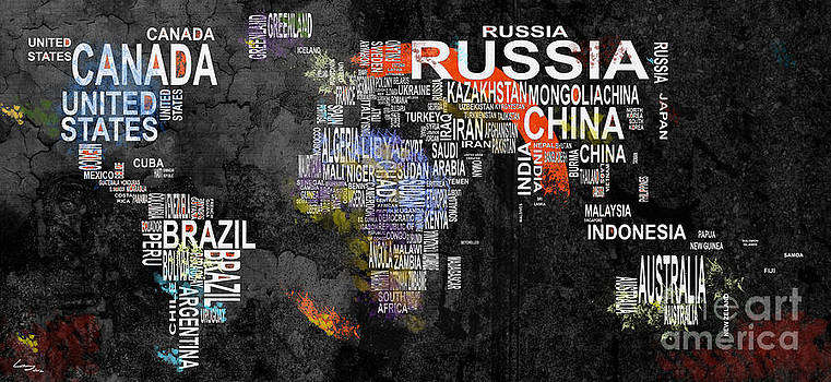 World map of countries by T Lang