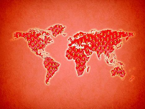 World Map Strawberry by Keidi Sel