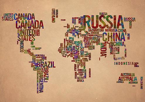 World Map Typography 2 Watercolor Painting by Georgeta Blanaru