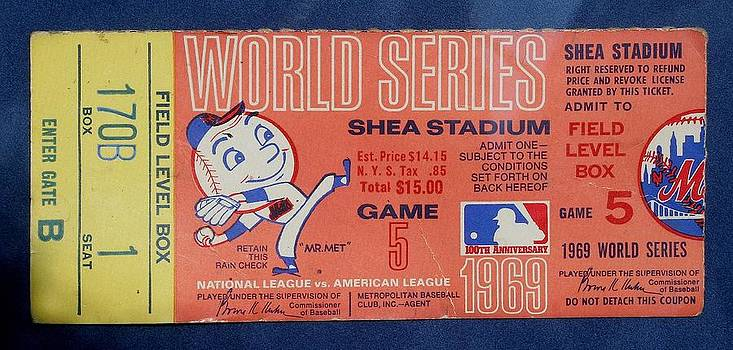WORLD SERIES TICKET Shea Stadium 1969 by Melinda Saminski