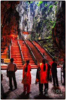 Worshipers at Batu Caves Hindu Temple - Kuala Lumpur - Malaysia by David Hill