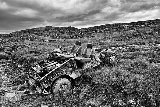 Wrecked Car on Mountain by Phil Darby