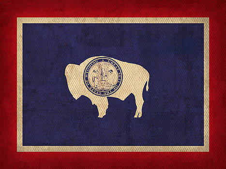 Design Turnpike - Wyoming State Flag Art on Worn Canvas