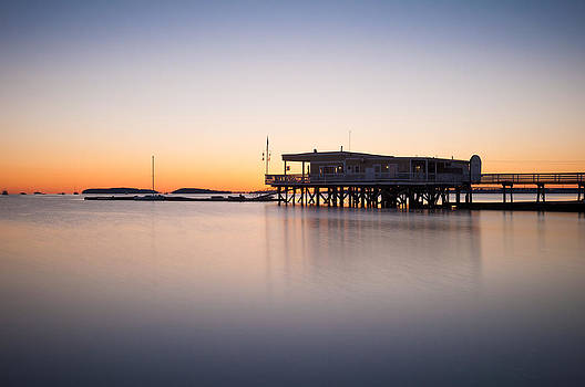 Yacht club at sunrise by Lee Costa