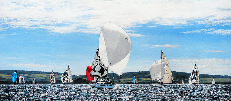 Yacht Raing During Cowes Week by Mark Woollacott