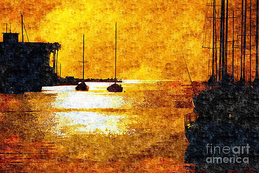 Beverly Claire Kaiya - Yacht Silhouettes and Golden Sunset with Shimmering Sea