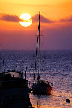 Yacht Sunrise off Catalina Island by Kirk Strickland