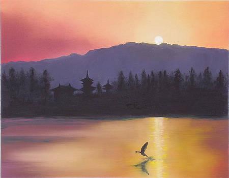 Yakushiji - Sunset over lake with crane by Gianluca Cremonesi