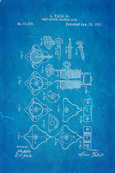 Ian Monk - Yale Lock Patent Art 1861 Blueprint
