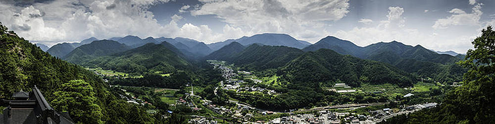 Yamadera view panorama in colour by Nathan Spotts