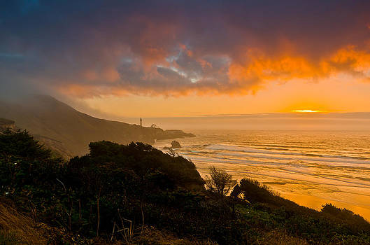 Yaquina Head Lighthouse sunset. by Ulrich Burkhalter