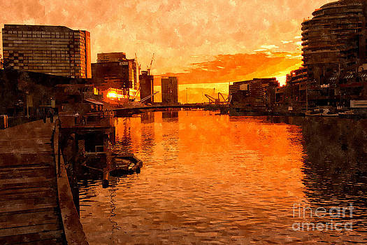 Beverly Claire Kaiya - Yarra River Sunset as Seen from Promenade in Melbourne