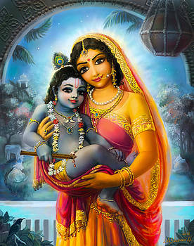 Yashoda and  Krishna by Lila Shravani
