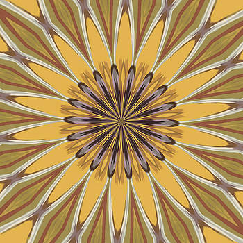 Tracey Harrington-Simpson - Yellow and Ochre Flower Pattern Abstract