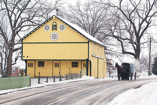 Yellow Barn with Horse and Buggy by Mark Van Scyoc