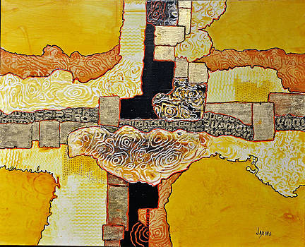 Yellow Bird Abstract by JAXINE Cummins