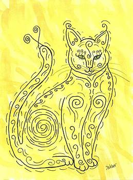 Yellow Cat Squiggle by Susie Weber