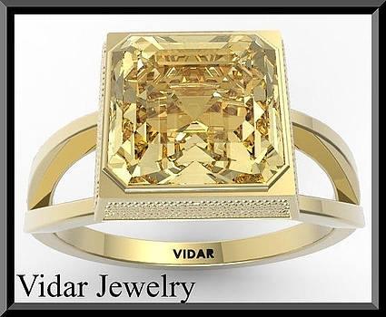 Yellow Citrine 14k Yellow Gold Square Engagement Ring by Roi Avidar