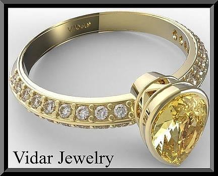 Yellow Citrine And Diamonds 14k Yellow Gold Engagement Ring by Roi Avidar
