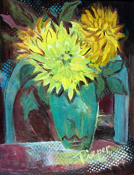 Betty Pieper - Yellow Dahlias and Blue Chair