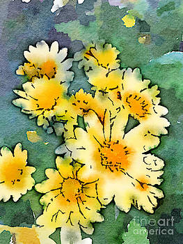 Beverly Claire Kaiya - Yellow Daisies Digital Watercolor