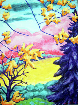 Yellow Leaves on Pink Hills by Terrie  Rockwell