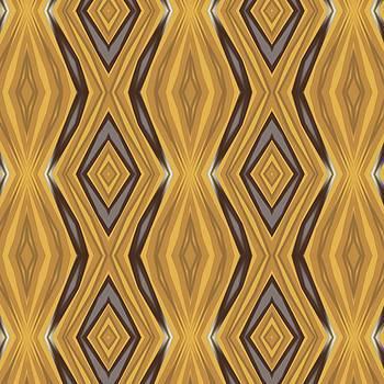 Tracey Harrington-Simpson - Yellow Ochre and Brown Diamond Pattern