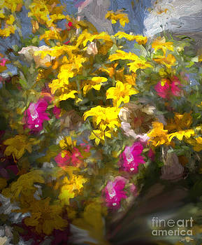 Yellow Pink Flowers Mixed Media Painting by Heinz G Mielke