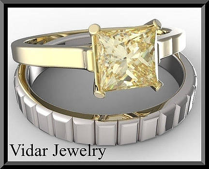 Yellow Sapphire 14k White And Yellow Gold Wedding Ring Set by Roi Avidar