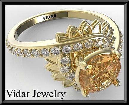 Yellow Sapphire And Diamond 14k Yellow Gold Flower Engagement Ring by Roi Avidar
